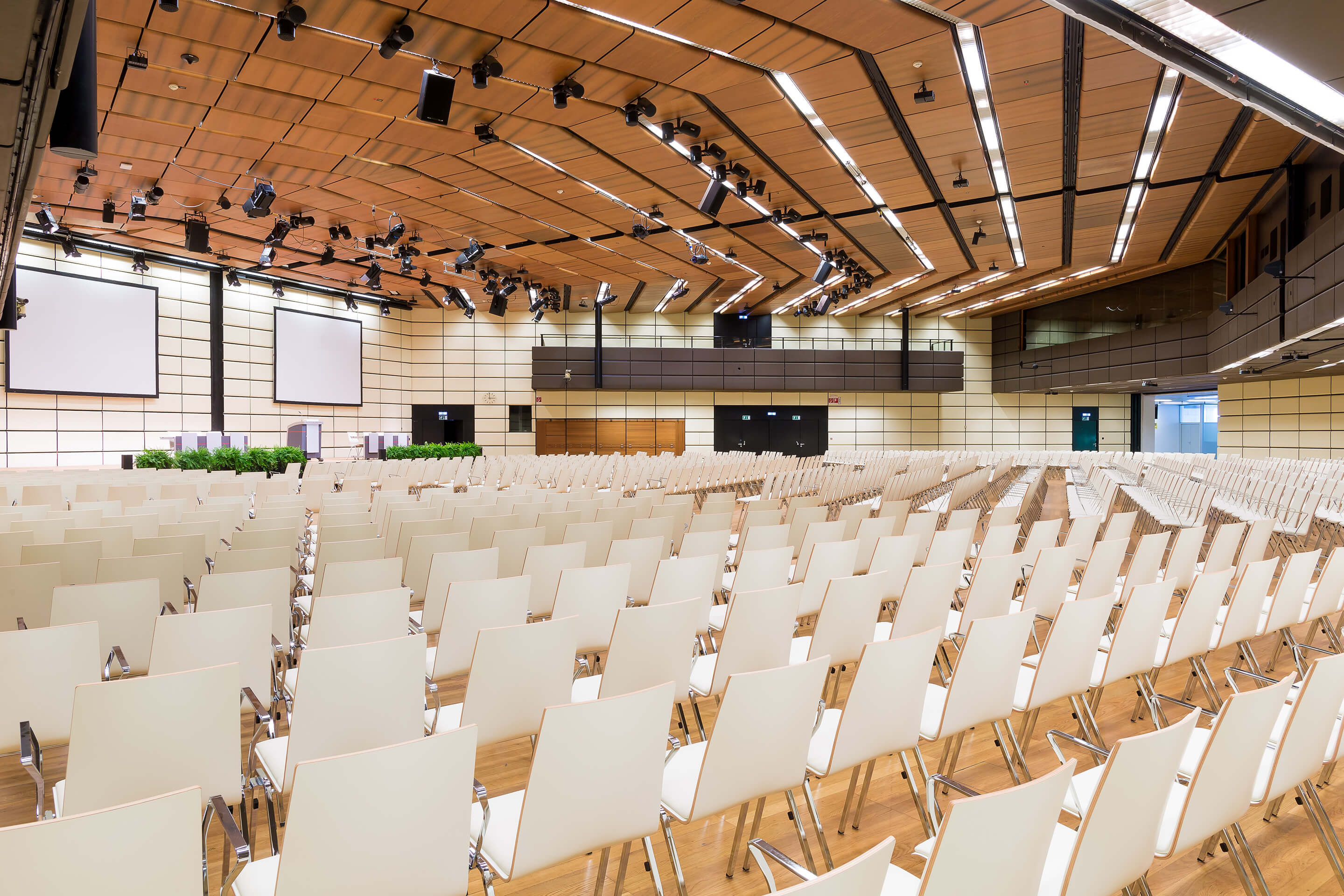 Photo: The main building, Hall E with parliamentary style seating