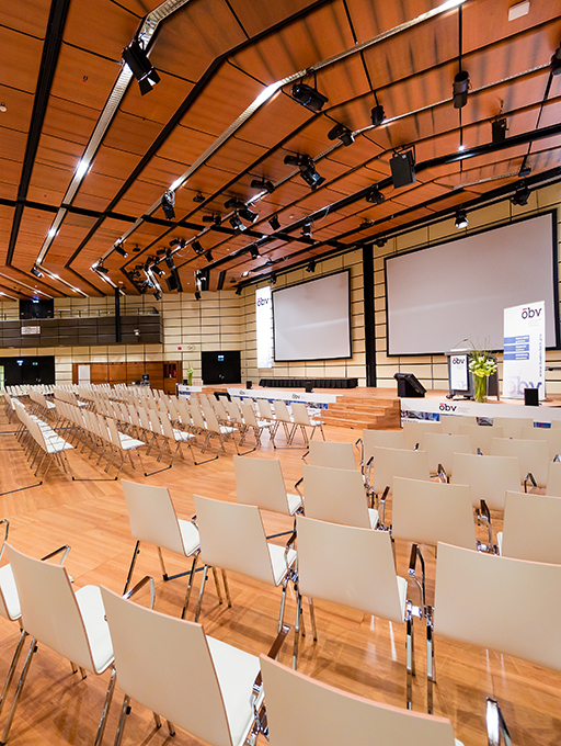 Photo: Main building Hall E parliamentary style seating