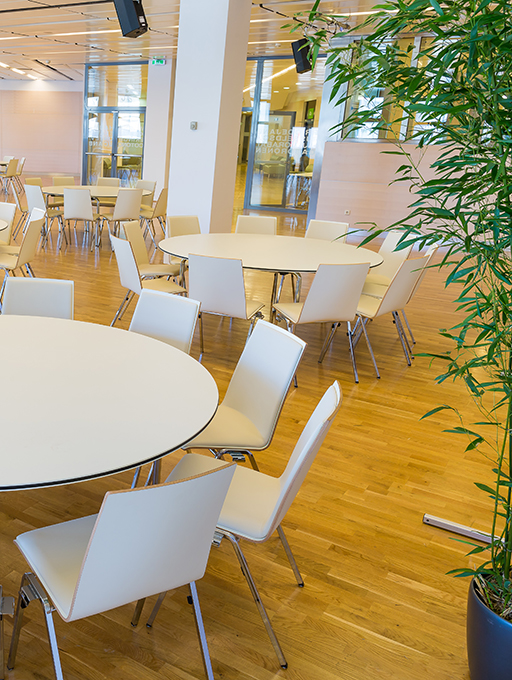 Photo: Main building Hall L6 with round tables