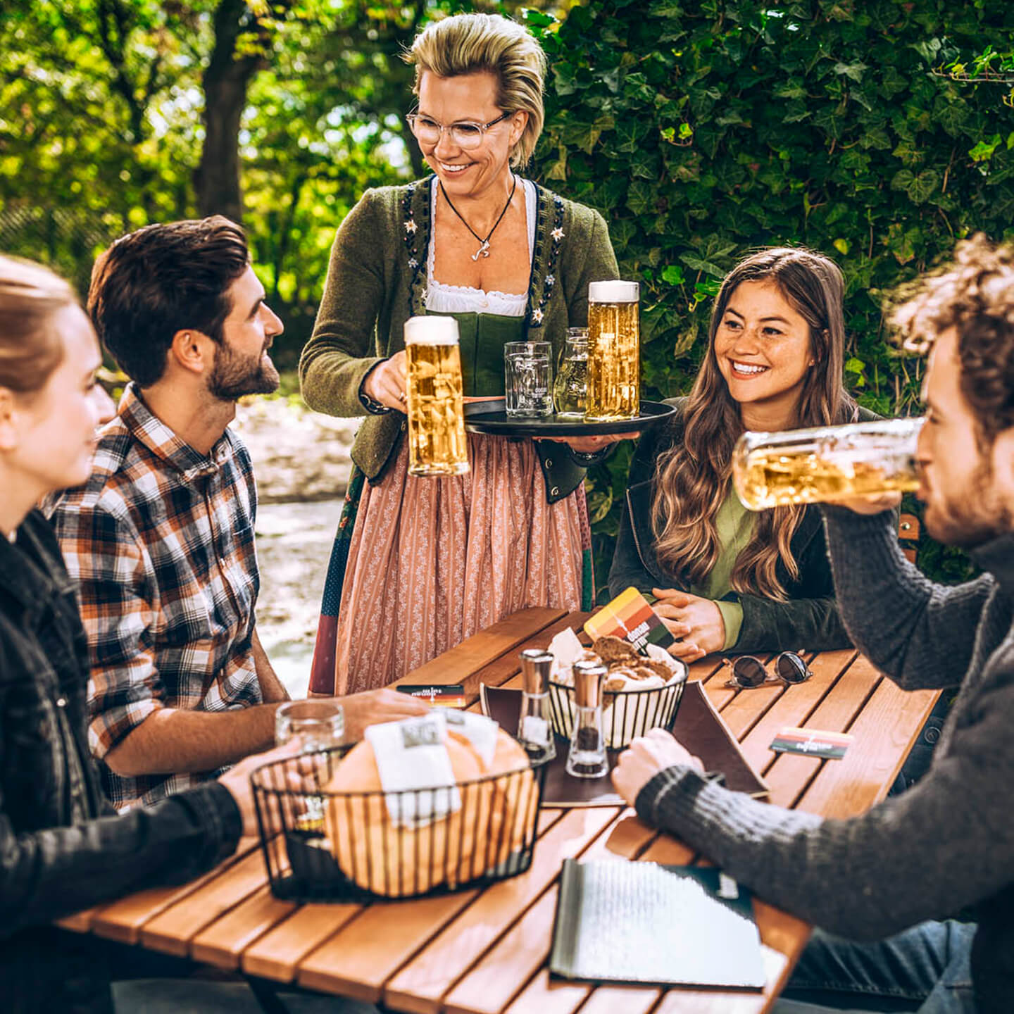 Groups drinking in the beer garden in a relaxed atmosphere